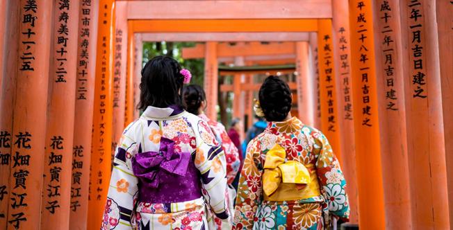A la découvert en kimono
